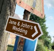 Wedding Brown Personalised Direction Arrow -  Metal Wall Sign